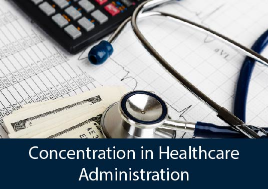 stethoscope, calculator, healthcare reports - AHS Concentration in Healthcare Administration