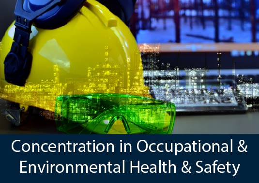 construction hard hat, safety goggles, and safety glasses overlaid on construction site - AHS Concentration in Occupational & Environmental Health & Safety