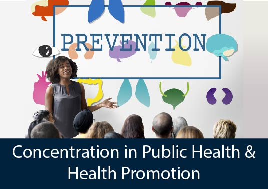 public health professional presenting to community group discussing prevention - AHS Concentration in Public Health & Health Promotion