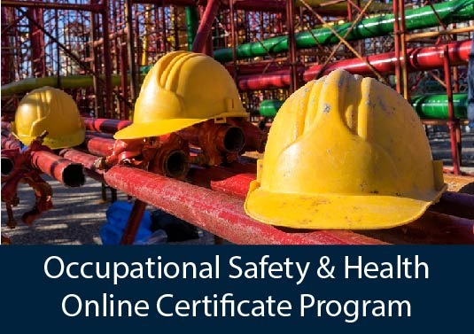 close-up of safety equipment on construction site - Occupational Safety & Health Online Certificate Program