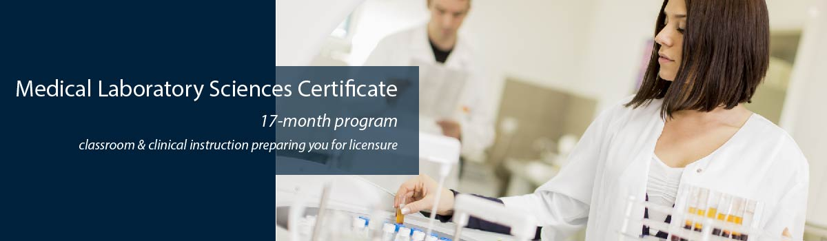 scientist tests samples in clinical laboratory - Medical Laboratory Sciences Certificate program - 17-month program - classroom & clinical instruction preparing you for licensure